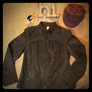 Moto Brown Leather Jacket - Sz Lg